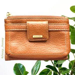 Relic Wallet Cognac Faux Pebbled Leather Zipper